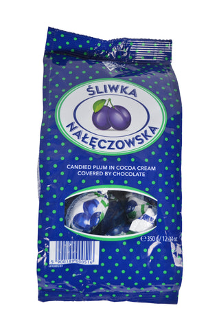 Sliwka Naleczowska Candied Plum in Cocoa Cream Covered by Chocolate Product of Poland 12.34 oz