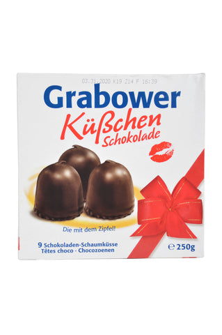 Grabower Küßchen Schokolade (Chocolate Covered Marshmallow) Product of Germany 250 g