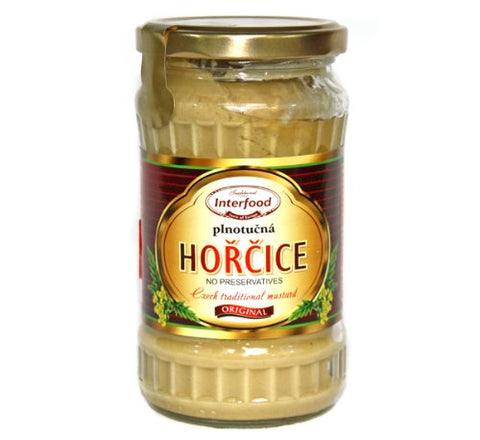 Interfood Original Horcice Plnotucna (Czech Traditional Yellow Mustard) Product of Czech Republic 12 oz