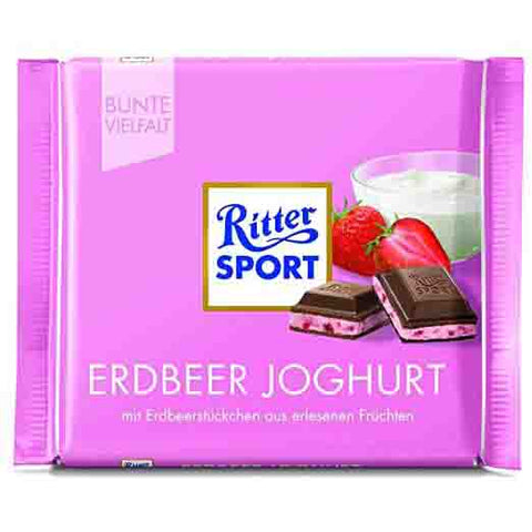 Ritter Sport Erdbeer Joghurt (Milk Chocolate with Strawberry Yogurt Cream Filling) Product of Germany 3.5 oz