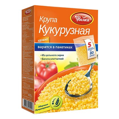 Uvelka Corn Grouts Packed in 5 Bags Product of Russia 400 g