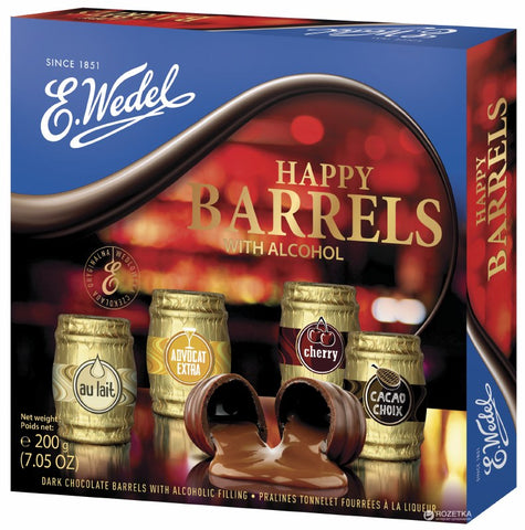 E. Wedel Happy Barrels Dark Chocolate Barrels with Alcoholic Filling Product of Poland  7.05 oz