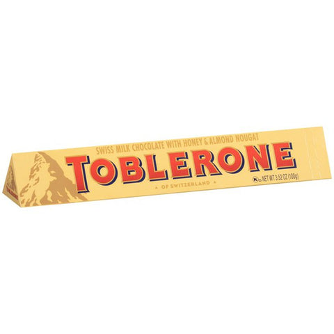 Toblerone Swiss Milk Chocolate with Honey & Almond Nougat Product of Switzerland 3.52 oz