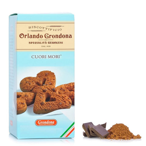 Orlando Grondona Cuori Mori Cookies With Chocolate Product of Italy 3.5 oz