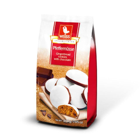 Weiss Pfeffernusse Gingerbread Cookies with Chocolate Product of Germany 200 g