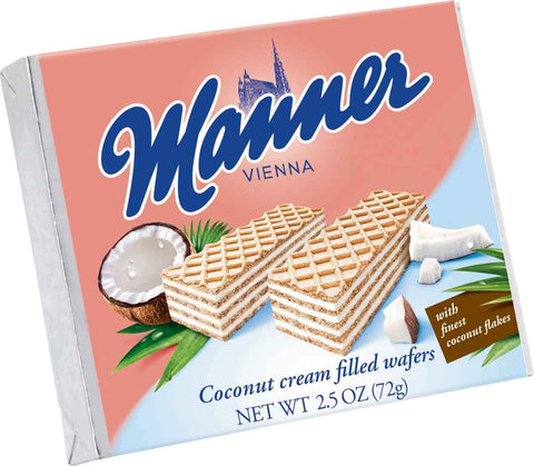 Manner Vienna Coconut Cream Filled Wafers Product of Austria 2.5 oz