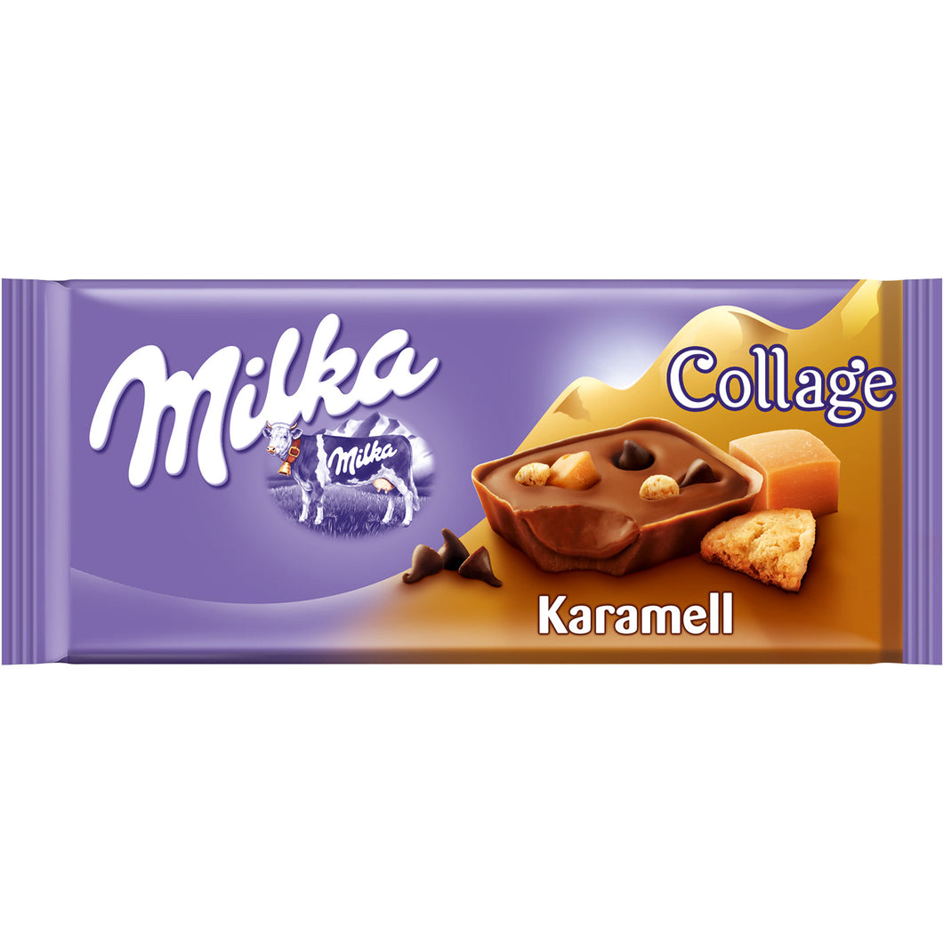 Milka Collage with Caramel Milk Chocolate Bar Product of Germany 3.28 oz