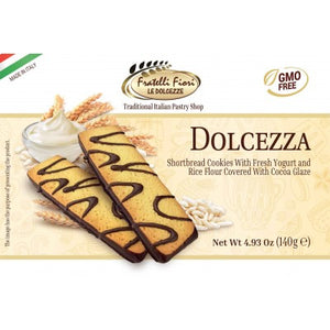 Fratelli Fiori Dolcezza Shortbread Cookies with Fresh Yogurt and Rice Flour Covered with Cocoa Glaze Product of Italy 4.93 oz