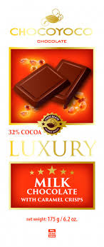 Chocoyoco Luxury Milk Chocolate with Caramel Crisps Product of Poland 6.2 oz