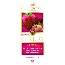 Chocoyoco Luxury Milk Chocolate with Almond and Raspberry Product of Poland 6.2 oz