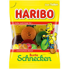 Haribo Bunte Schnecken (Colorful Wheels) Gummies Product of Germany 175 g