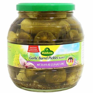 Kühne Kosher Garlic Barrel Pickles Product of Germany 35.9 oz