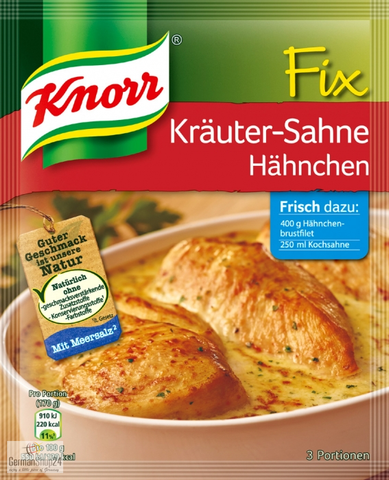 Knorr Fix Krauter-Sahne Hahnchen (Cream Chicken Herbs) product of Germany 28 g