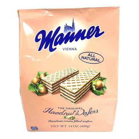 Manner Vienna Hazelnut Cream Filled Wafer Cookies Product of Austria 7 oz
