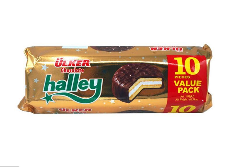 Ulker Chocolate Halley Sandwich Biscuit Filled with Marshmallow Value Pack Product of Turkey 10.58 oz