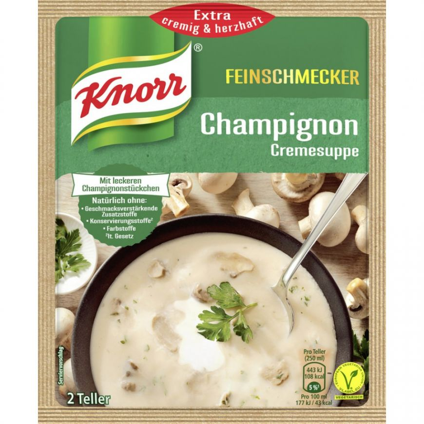 Knorr Feinschmecker Champignon Cremesuppe (Mushroom Cream Soup Product of Germany 45 g