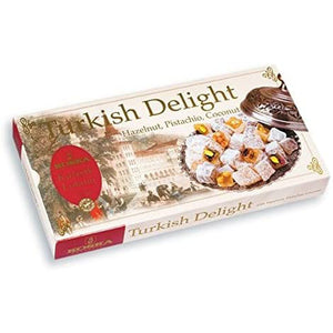 Koska Turkish Delight with Hazelnut and Pistachio, Coconut Coated Plain Product of Turkey 17.64 oz