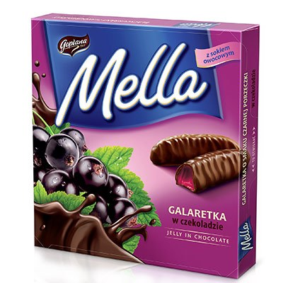 Mella Chocolate Coated Black Currant Jelly Product of Poland 6.70 oz