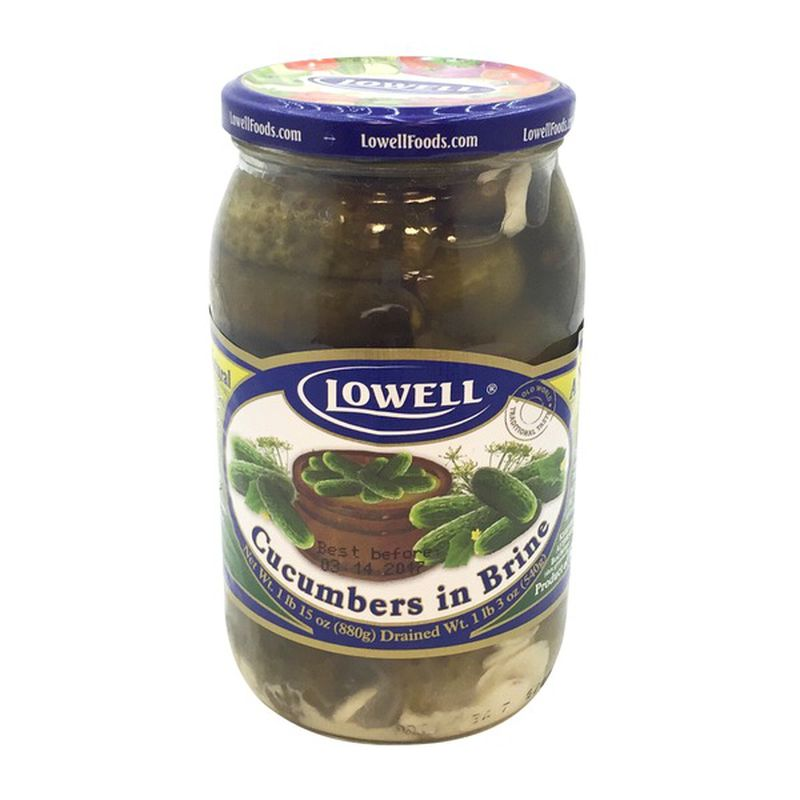 Lowell Cucumbers in Brine All Natural Product of Poland 1 lb 15 oz