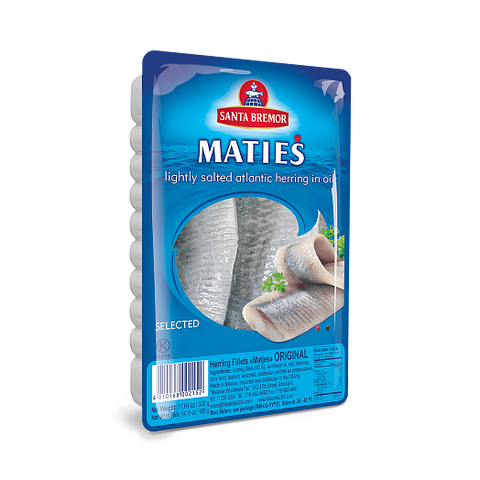 Santa Bremor Maties Lightly Salted Atlantic Herring in Oil Product of Belarus 17.64 oz