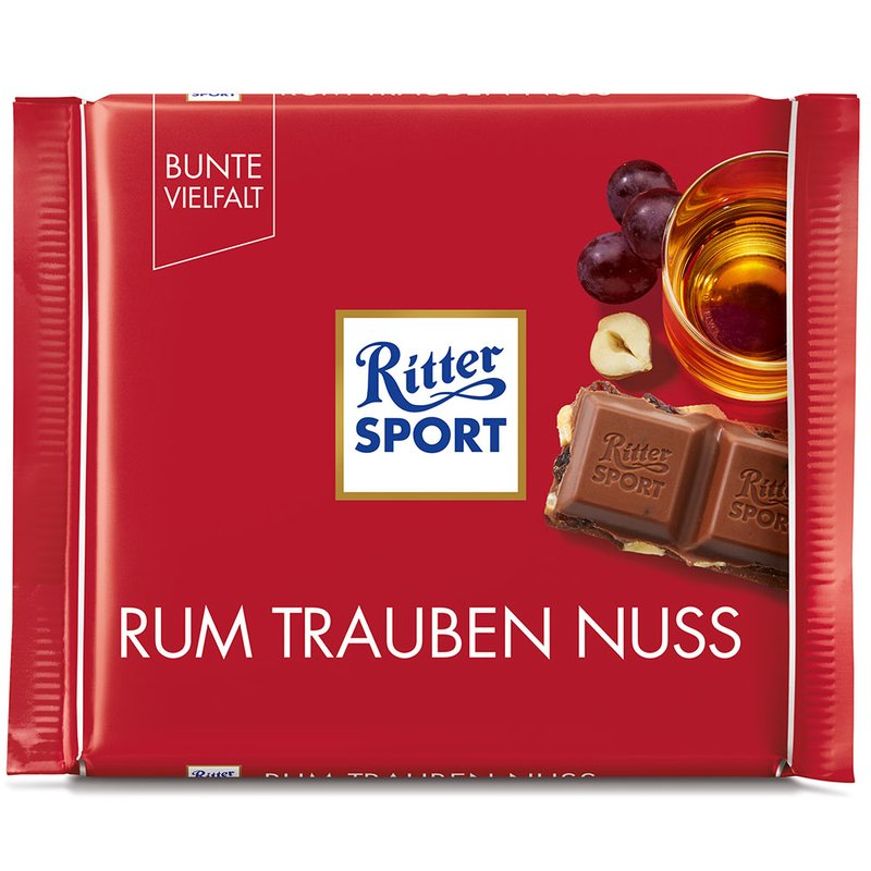 Ritter Sport Rum Trauben Nuss (Milk Chocolate with Rum Raisins & Nuts) Product of Germany 3.5 oz