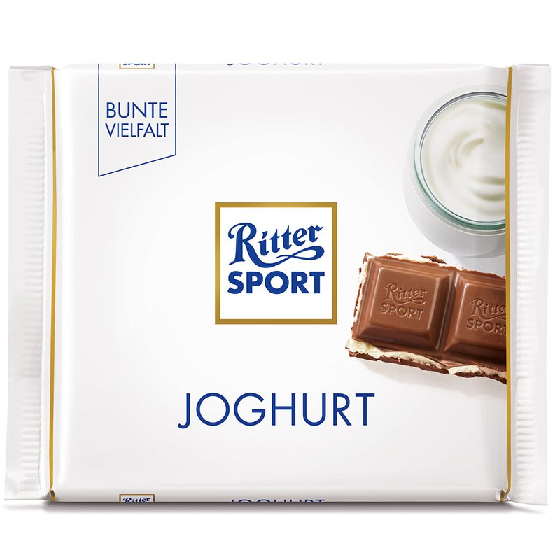 Ritter Sport Joghurt (Filled Milk Chocolate with Skimmed Milk Yogurt Cream) Product of Germany 3.5 oz