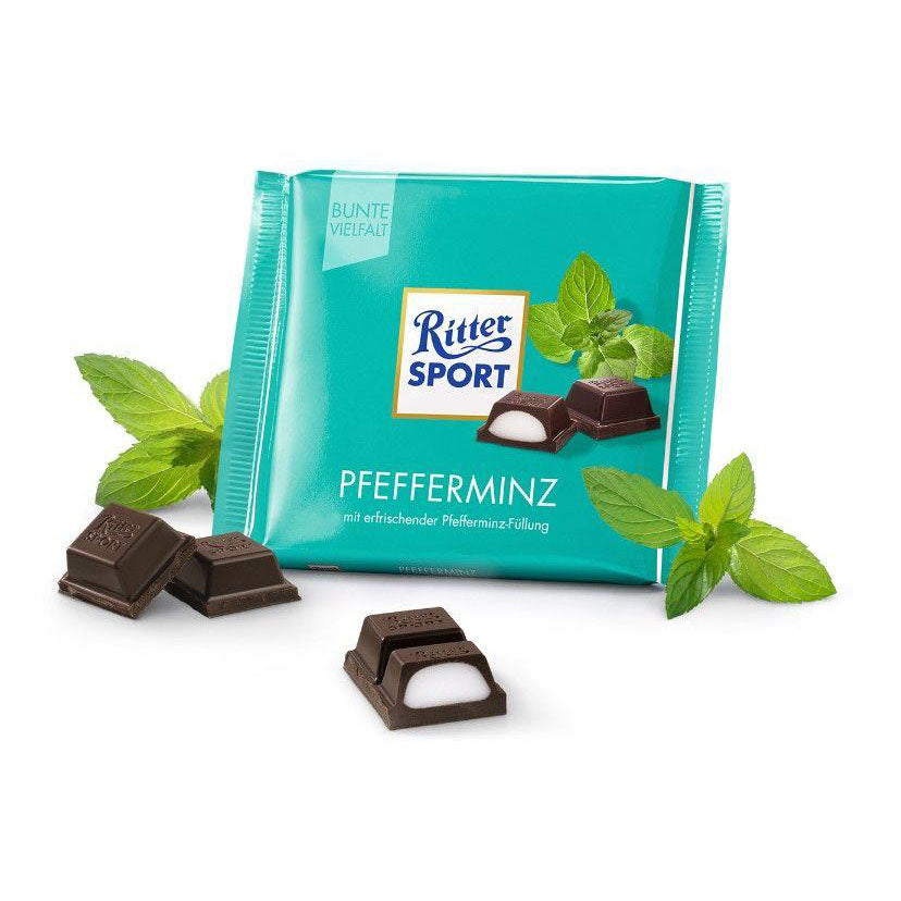 Ritter Sport Pfefferminz (Dark Chocolate with Peppermint) Product of Germany 3.5 oz