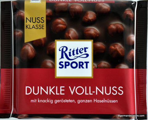Ritter Sport Dunkle Voll-Nuss Dark Chocolate with Whole Hazelnuts Product of Germany 100 g
