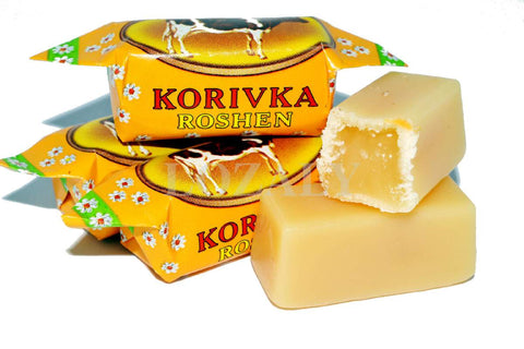Roshen Korovka Creamy chewy milky caramel candy Product of Ukraine 1 lb (one bag)