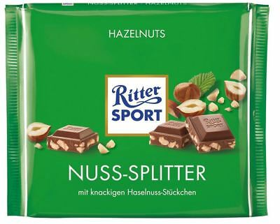 Ritter Sport Nuss-Splitter Hazelnut Milk Chocolate Bar Product of Germany 100 g