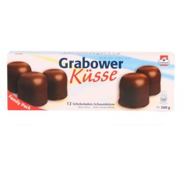 Grabower Kusse Crispy Wafer Filled with a Creamy Foam Dipped in Chocolate Product of Germany 10.6 oz