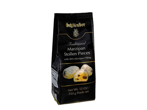 Schlunder Traditional German Marzipan Stollen Pieces with 40% Filling Product of Germany 350 g