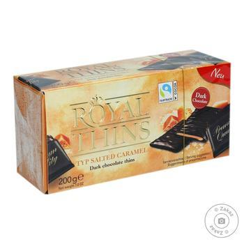 Halloren Royal Salted Caramel Dark Chocolate Thins Product of Germany 200 g