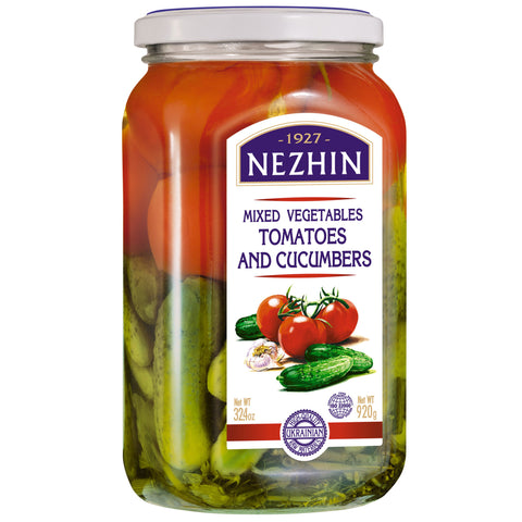 Nezhin Marinated Mixed Vegetables Tomatoes and Cucumbers Product of Ukraine 32.4 oz