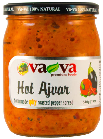 Vava 100% Natural Hot Ajvar Homemade Spicy Roasted Pepper Spread Product of Macedonia 19 oz
