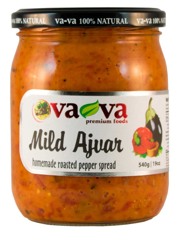 Vava 100% Natural Mild Ajvar Homemade Roasted Pepper Spread Product of Macedonia 19 oz