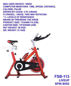 Liveup Spinning Bike (15kg Flywheel)