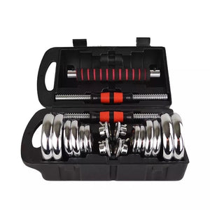20kg Chrome Dumbbell Set with Long Bar Attachment