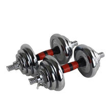 Load image into Gallery viewer, 20kg Chrome Dumbbell Set with Long Bar Attachment