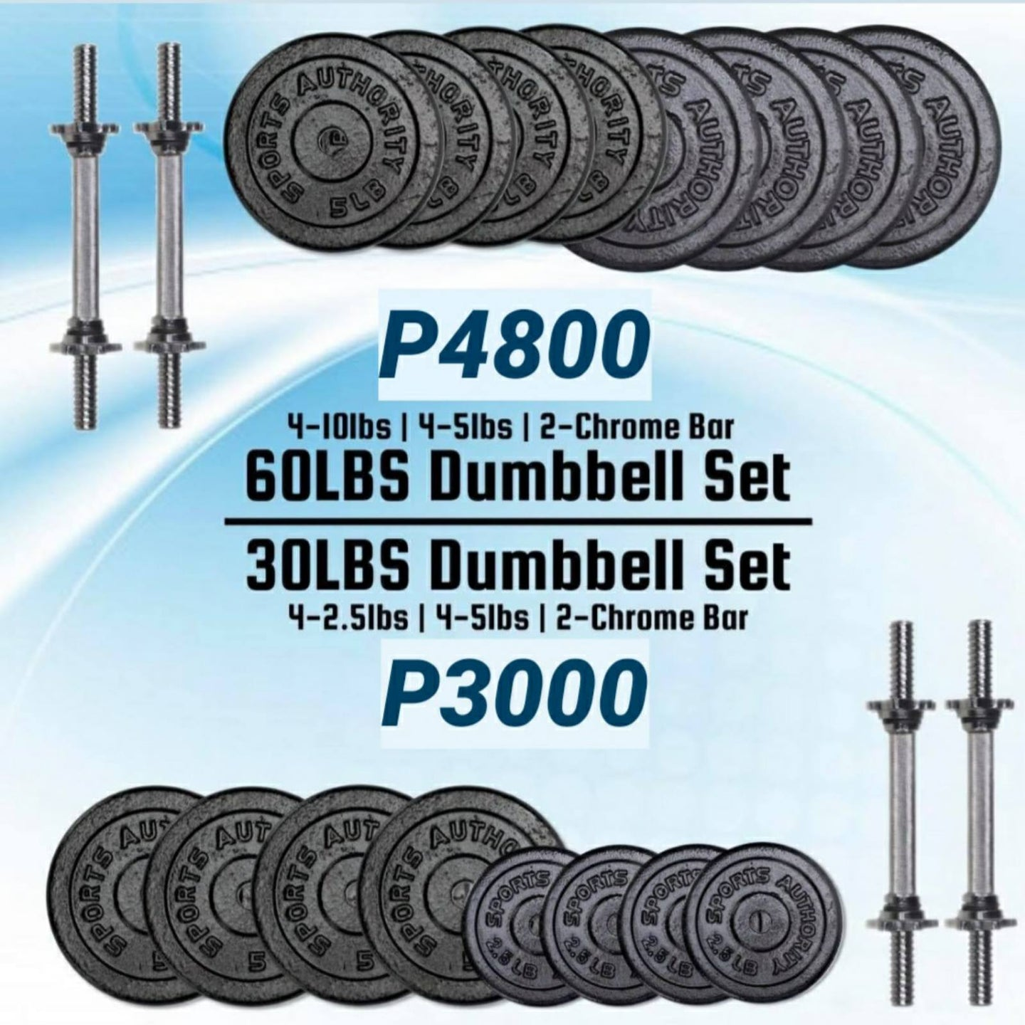 30lbs or 60lbs Dumbbell Set