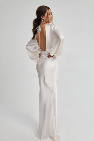 Load image into Gallery viewer, Long Sleeve Backless Maxi Dress | Pale Blush
