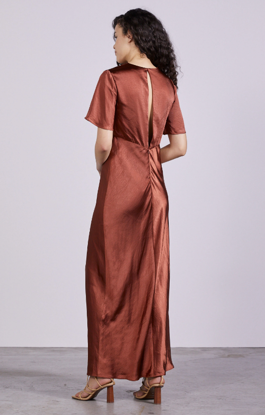 Load image into Gallery viewer, Gather Tee Bias Maxi Dress | Copper