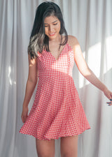 Checker Tie Bow Back Dress - MYPHEME