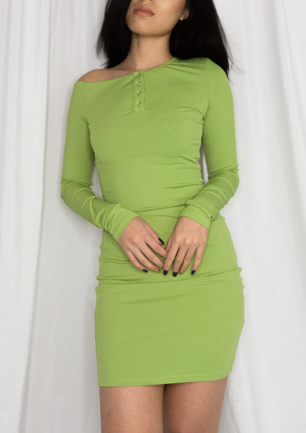 Off The Shoulder Dress In Green - MYPHEME