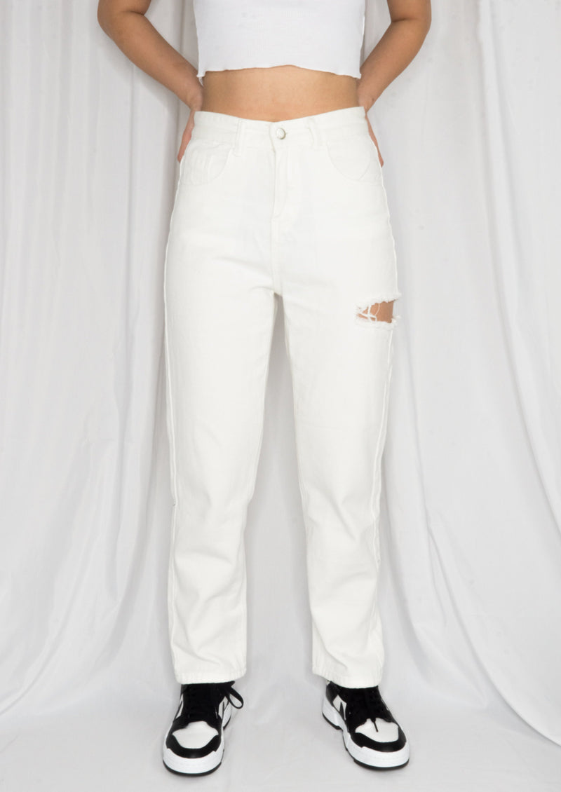 Straight Fit Cut-Out Jeans - MYPHEME