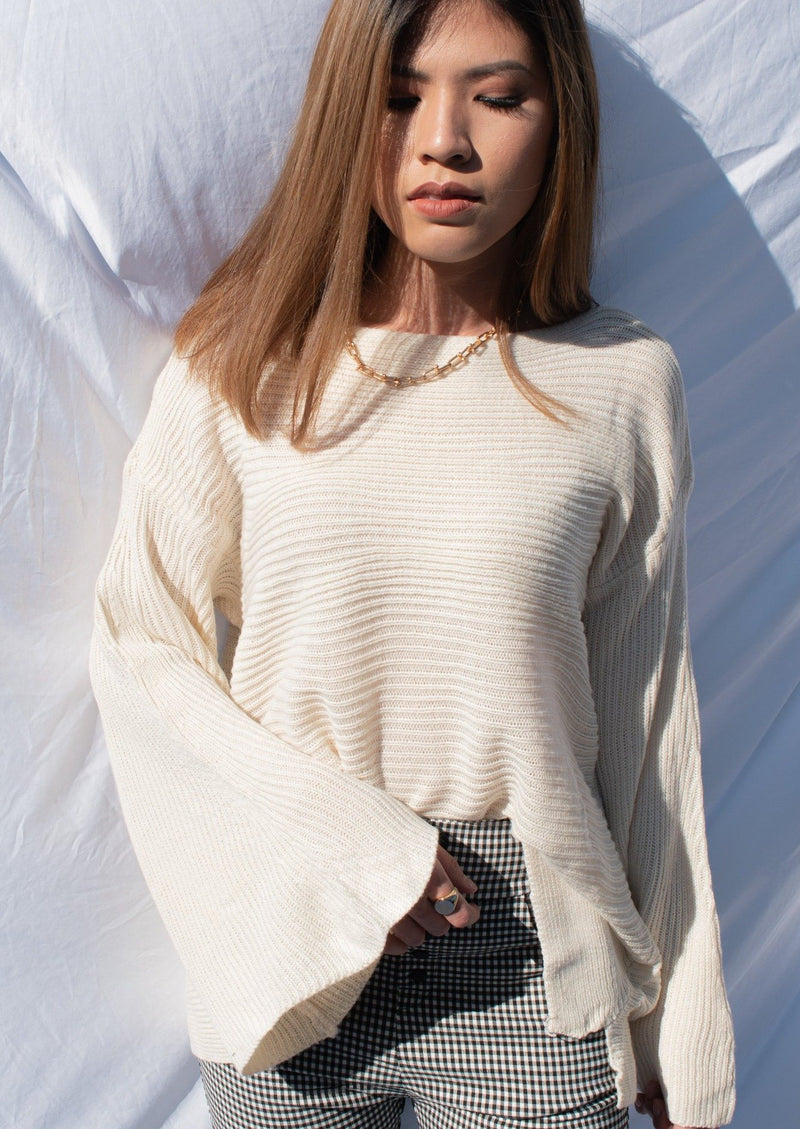 White Bell Sleeve Sweater - MYPHEME