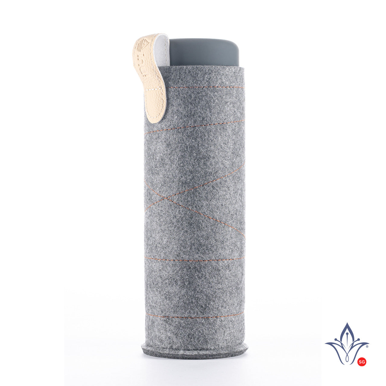 inu! Crystal Water Bottle Sleeve - Dark Grey with Beige Loop