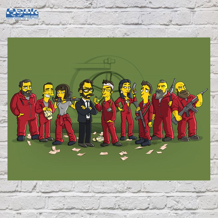PÓSTER CASA DE PAPEL SIMPSONS