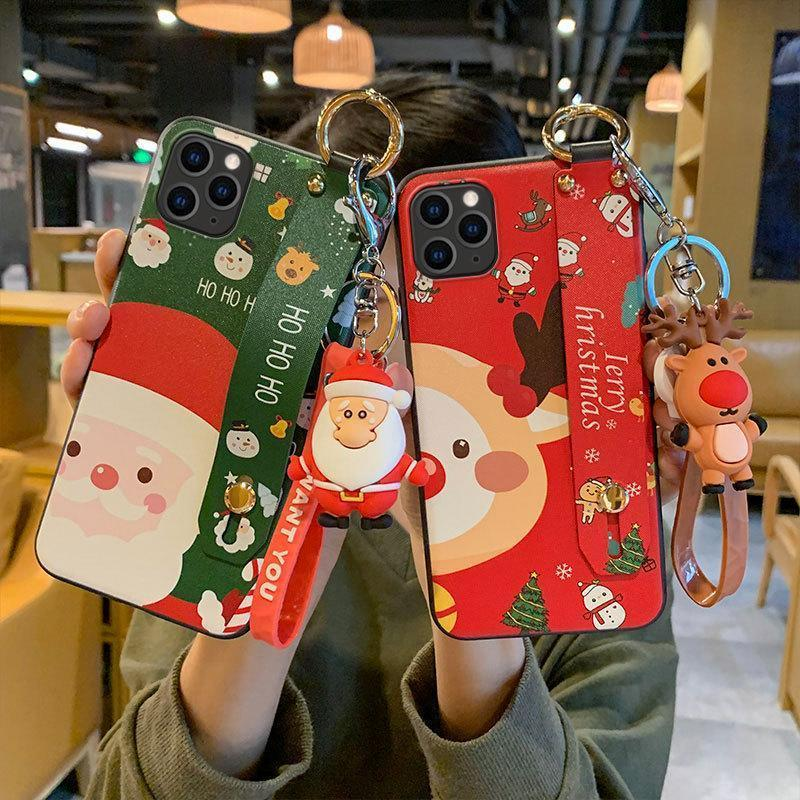 Christmas Cartoon Deer Case  Wrist strap bracket Matte Cover For iphone Case