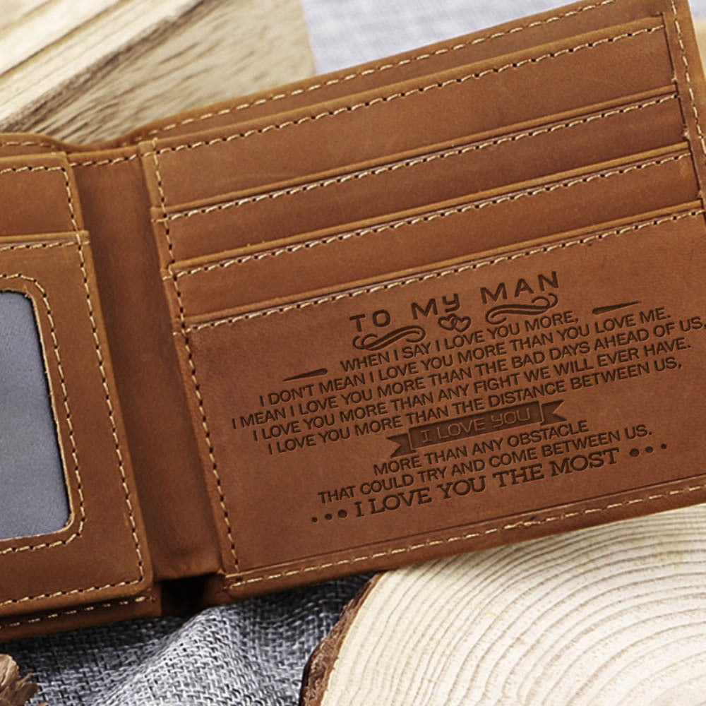 Leather, Bifold, wallet, personalized, message, him, husband, boyfriend, gift